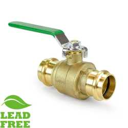 "1"" Press Brass Ball Valve, Full Port (Lead-Free)"