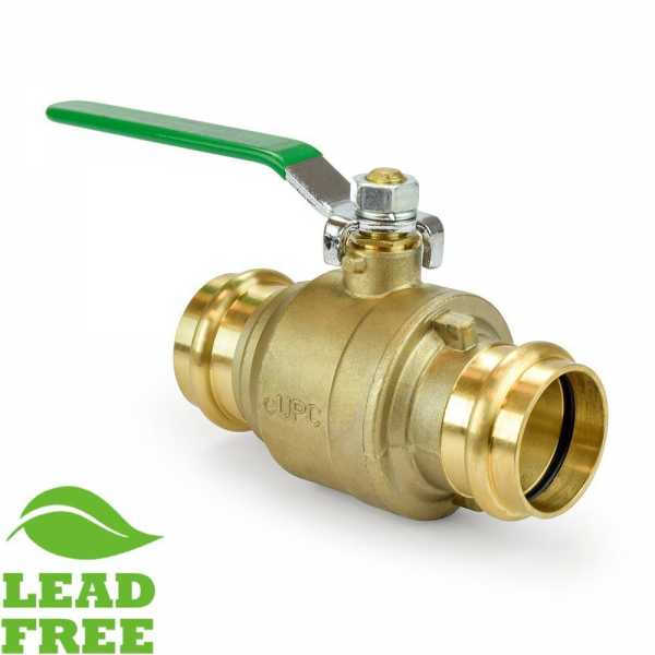 "1-1/2"" Press Brass Ball Valve, Full Port (Lead-Free)"