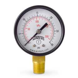 """0-30 psi Pressure Gauge, 2"""" Dial, 1/4"""" NPT"""