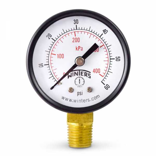 """0-60 psi Pressure Gauge, 2"""" Dial, 1/4"""" NPT"""