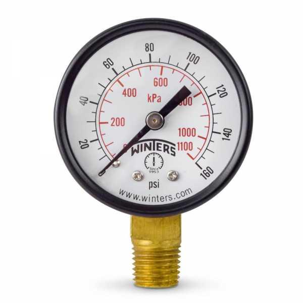 """0-160 psi Pressure Gauge, 2"""" Dial, 1/4"""" NPT"""