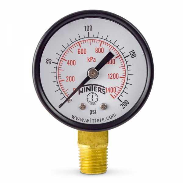 """0-200 psi Pressure Gauge, 2"""" Dial, 1/4"""" NPT"""
