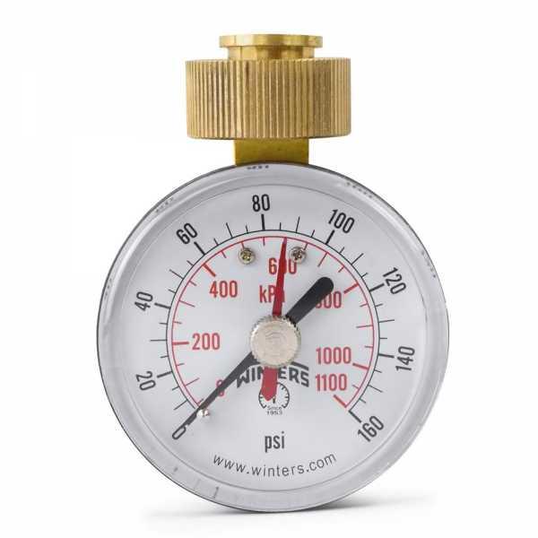 "0-160 psi Water Pressure Test Gauge, 3/4"" GHT, 2-1/2"" Dial"