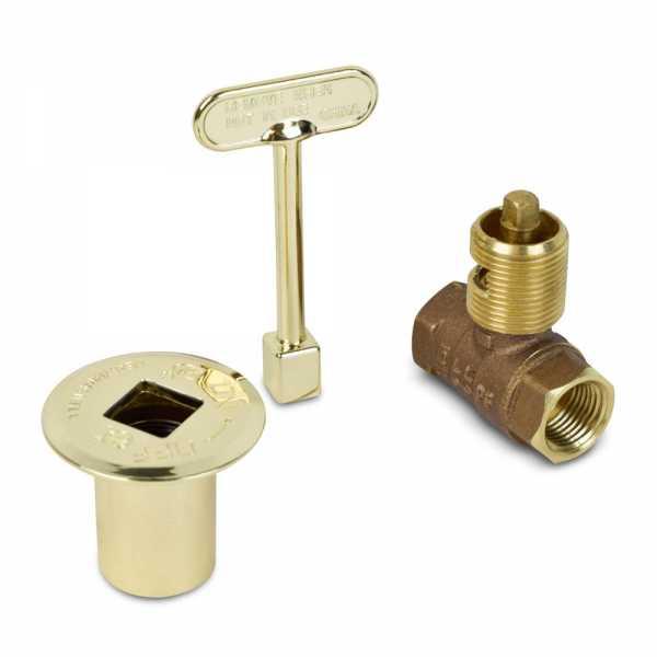 HearthMaster Straight Log Lighter Gas Valve Kit (Valve, Polished Brass Flange and Key), NG or LP
