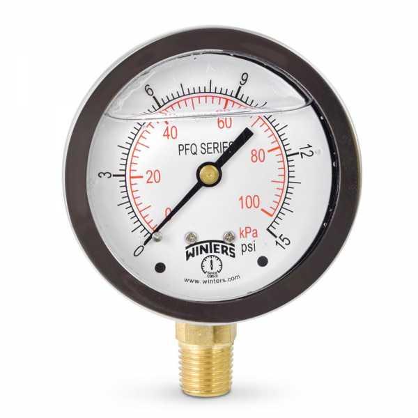 "0-15 psi Liquid Filled Pressure Gauge, 2-1/2"" Dial, 1/4"" NPT"