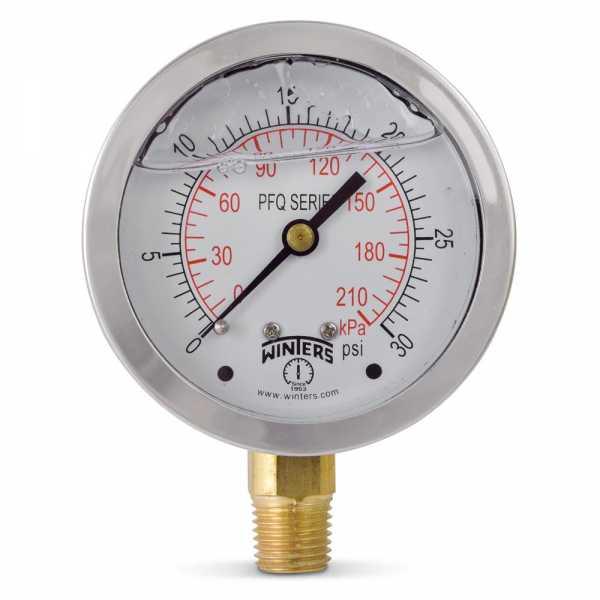 "0-30 psi Liquid Filled Pressure Gauge, 2-1/2"" Dial, 1/4"" NPT"