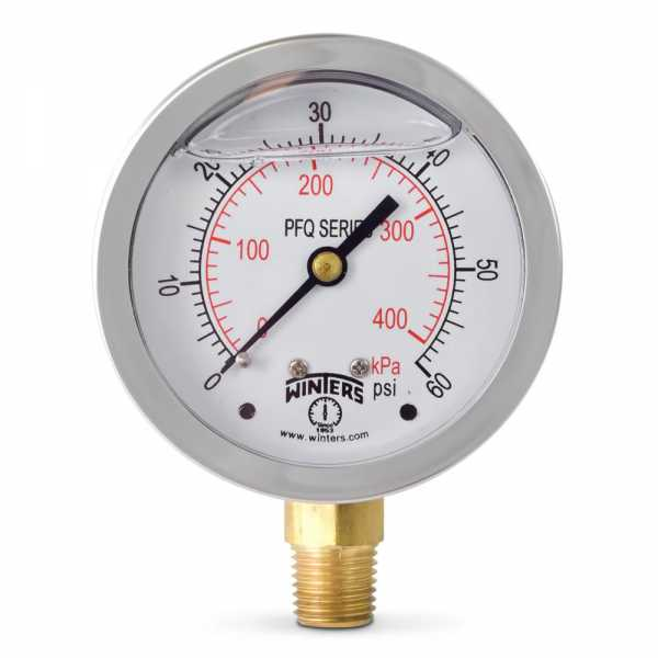 "0-60 psi Liquid Filled Pressure Gauge, 2-1/2"" Dial, 1/4"" NPT"