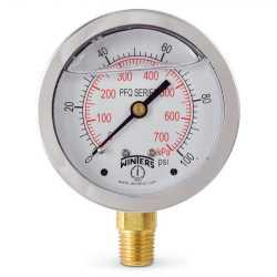 "0-100 psi Liquid Filled Pressure Gauge, 2-1/2"" Dial, 1/4"" NPT"