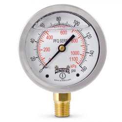 "0-160 psi Liquid Filled Pressure Gauge, 2-1/2"" Dial, 1/4"" NPT"