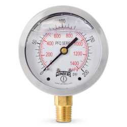 "0-200 psi Liquid Filled Pressure Gauge, 2-1/2"" Dial, 1/4"" NPT"