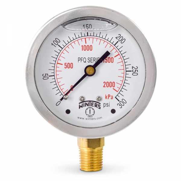 "0-300 psi Liquid Filled Pressure Gauge, 2-1/2"" Dial, 1/4"" NPT"