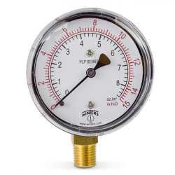 """0-15"""" Water(H2O)/oz Pressure Gauge, 2-1/2"""" Dial, 1/4"""" NPT"""