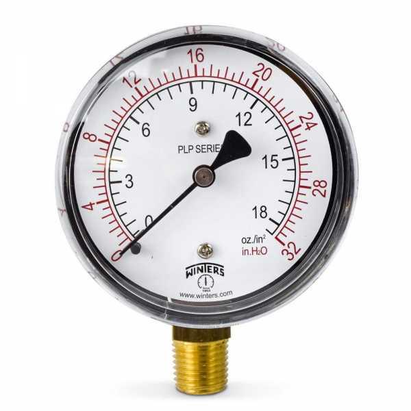 """0-32"""" Water(H2O)/oz Pressure Gauge, 2-1/2"""" Dial, 1/4"""" NPT"""