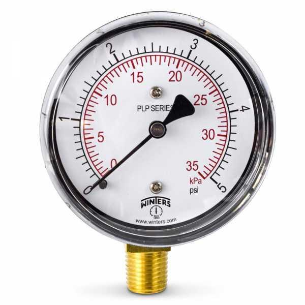 """0-5 psi Pressure Gauge, 2-1/2"""" Dial, 1/4"""" NPT"""