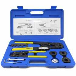 "PEX Crimp Tool Kit w/ Decrimper for sizes 3/8"", 1/2"", 5/8"" and 3/4"""