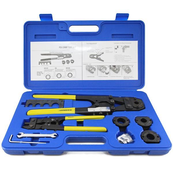 """PEX Crimp Tool Kit w/ Decrimper for sizes 3/8"""", 1/2"""", 5/8"""" and 3/4"""""""