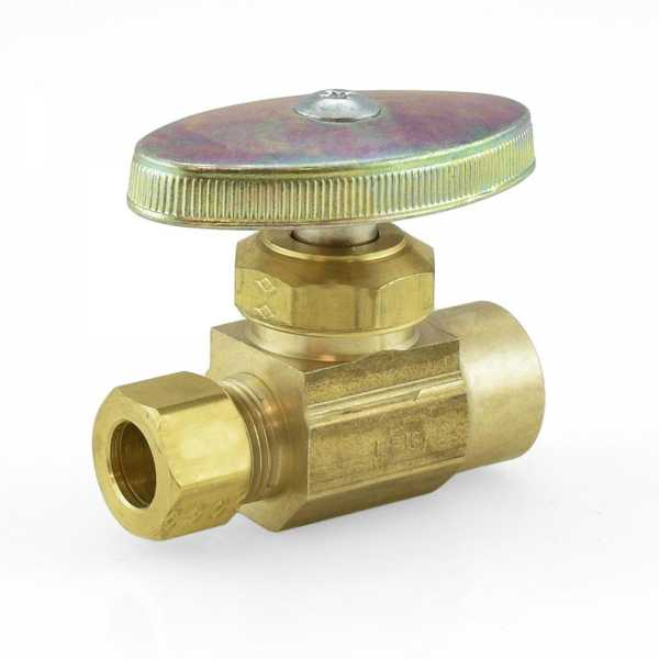 "1/2"" Sweat x 3/8"" OD Compression Straight Stop Valve (Multi-Turn), Rough Brass, Lead-Free"