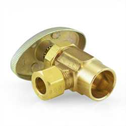 "1/2"" Sweat x 3/8"" OD Compression Angle Stop Valve (Multi-Turn), Rough Brass, Lead-Free"