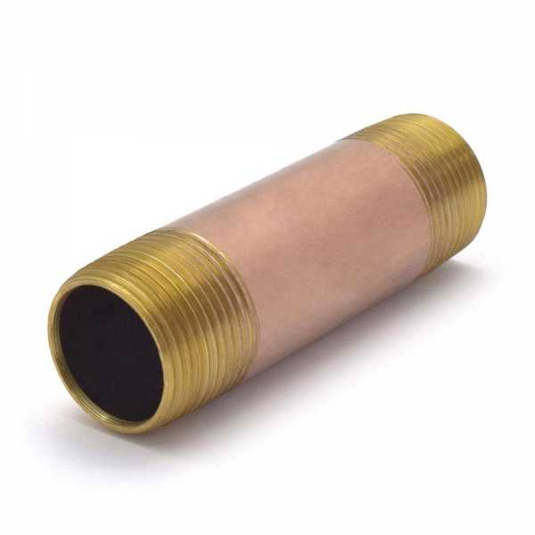 "Everhot RB-100X4 1"" x 4"" Brass Pipe Nipple"
