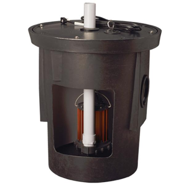 "Assembled Sump Kit w/ 18"" x 22"" Basin, 1/2HP Sump Pump w/ 10' cord, 115V"