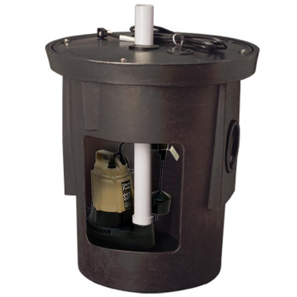 "Assembled Sump Kit w/ 18"" x 22"" Basin, 1/3HP Sump Pump w/ 10' cord, 115V"