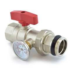 Manifold Ball Valve w/ Temperature Gauge (Red Handle)