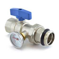 Manifold Ball Valve w/ Temperature Gauge (Blue Handle)