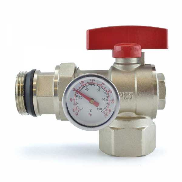 Manifold Angle Ball Valve w/ Temperature Gauge (Red Handle)