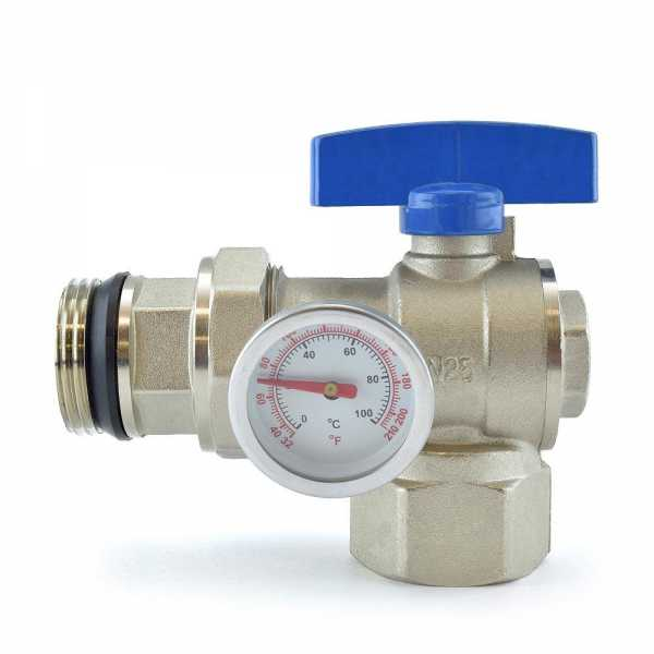 Manifold Angle Ball Valve w/ Temperature Gauge (Blue Handle)