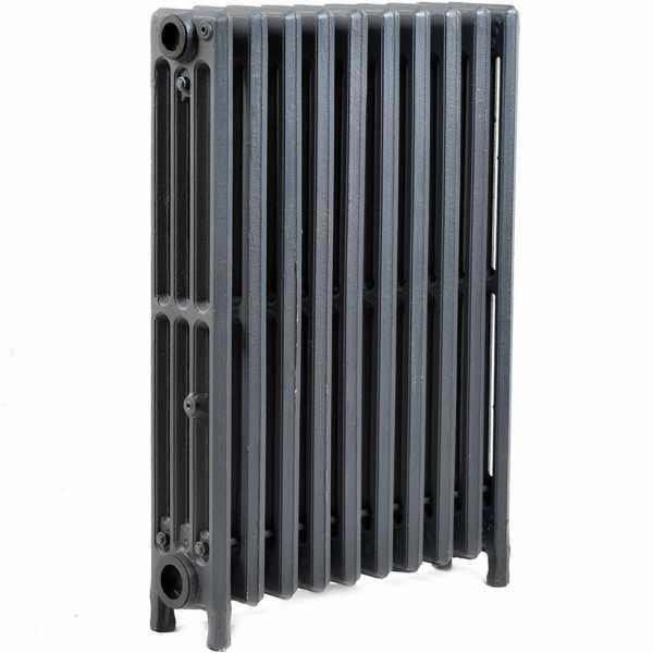 "10-Section, 4"" x 25"" Cast Iron Radiator, Free-Standing, Slenderized/Tube style"