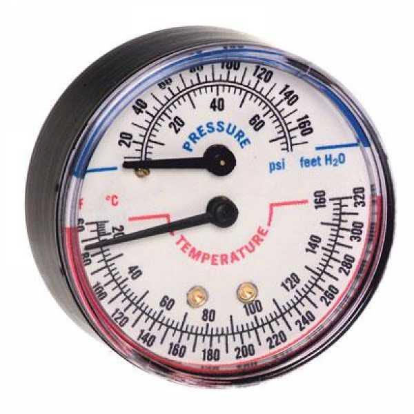 "Tridicator, 1/4"" NPT, 3-1/8"" Dial, 60-320F, 75 psi max., 2"" stem"