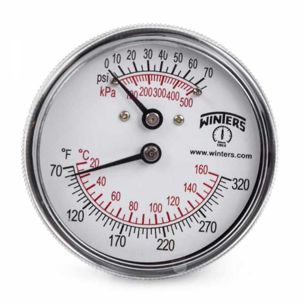 "Tridicator Gauge, 70-320F, 0-75 psi, 1/4"" NPT w/ Extension, 2-1/2"" Dial"