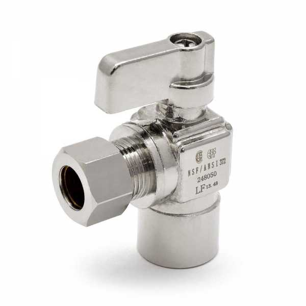 "1/2"" Sweat x 3/8"" OD Compression Angle Stop Valve, Lead-Free"