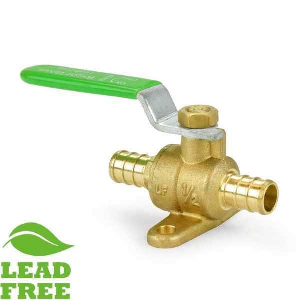 "1/2"" PEX Brass Ball Valve w/ Drop Ears, Full Port (Lead-Free)"