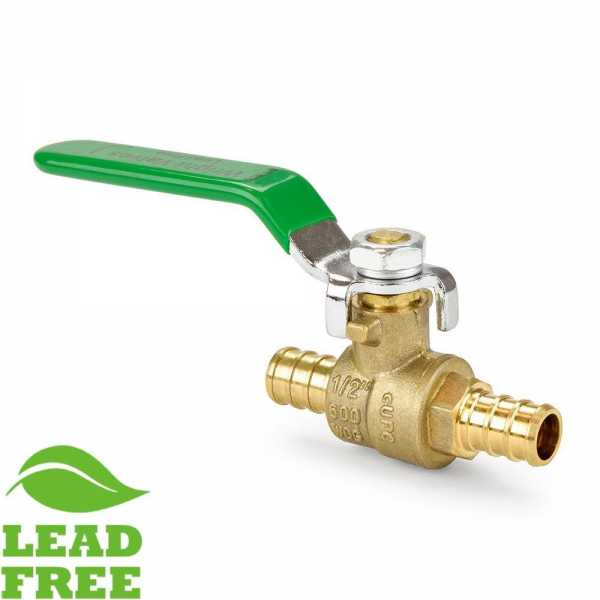 "1/2"" PEX Brass Ball Valve, Full Port (Lead-Free)"