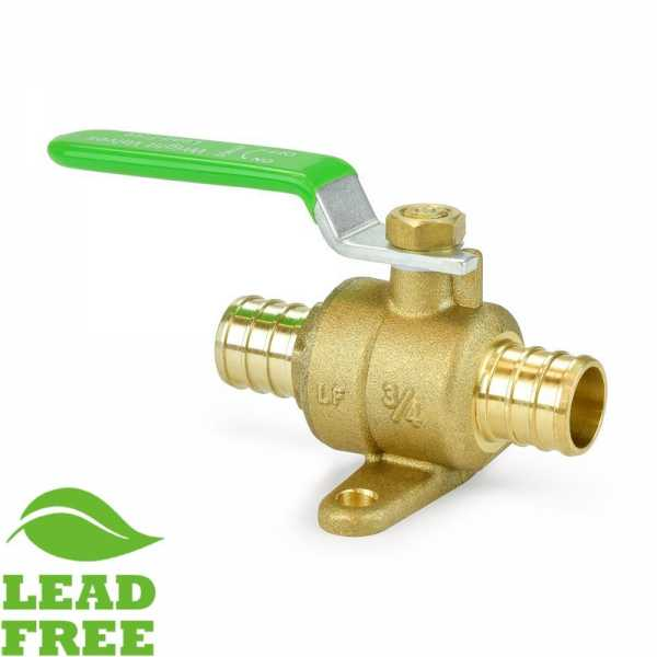 "3/4"" PEX Brass Ball Valve w/ Drop Ears, Full Port (Lead-Free)"