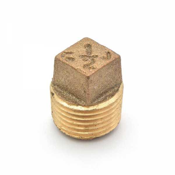 """1/2"""" MPT Square-Head Brass Plug, Lead-Free"""