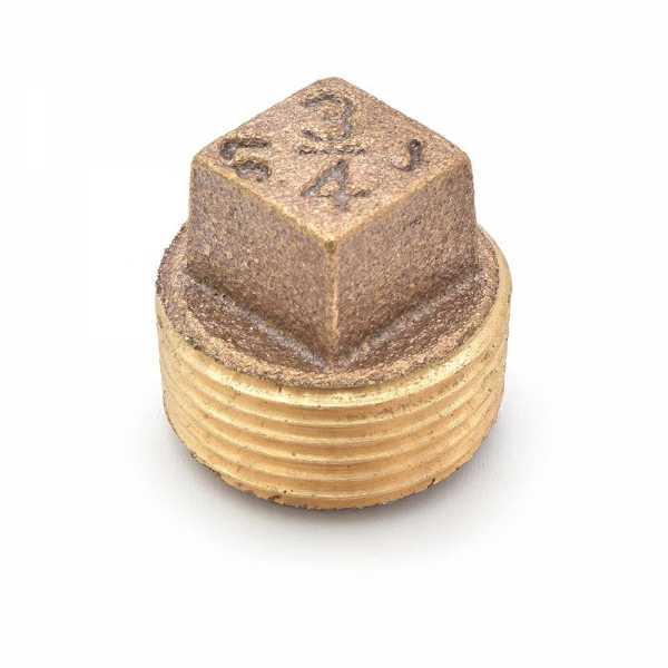"""3/4"""" MPT Square-Head Brass Plug, Lead-Free"""