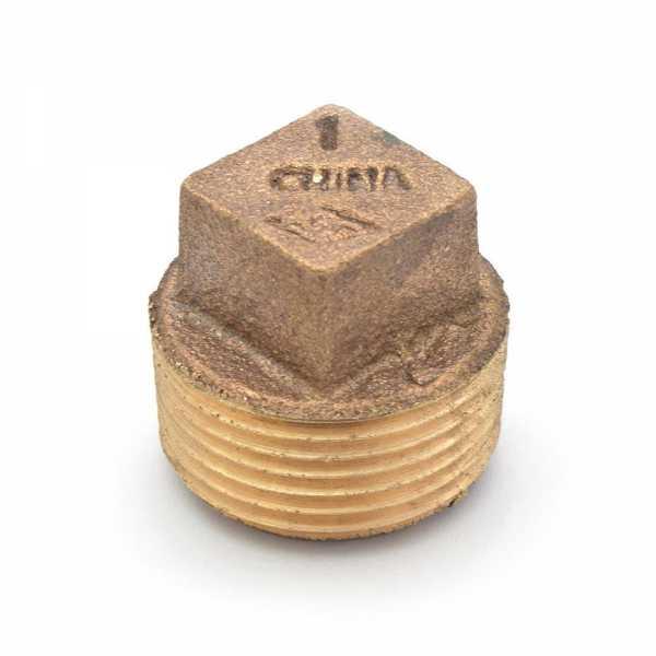 """1"""" MPT Square-Head Brass Plug, Lead-Free"""