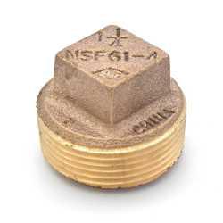 """1-1/4"""" MPT Square-Head Brass Plug, Lead-Free"""
