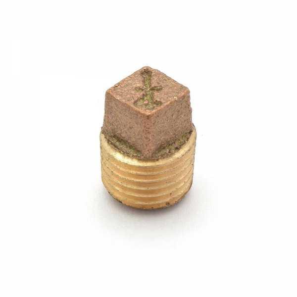 """1/4"""" MPT Square-Head Brass Plug, Lead-Free"""