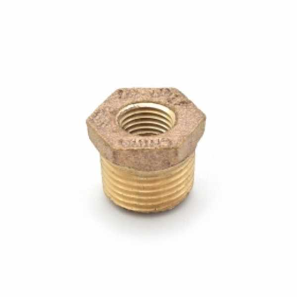 "1/2"" MPT x 1/4"" FPT Brass Bushing, Lead-Free"