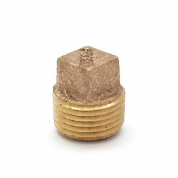 """3/8"""" MPT Square-Head Brass Plug, Lead-Free"""