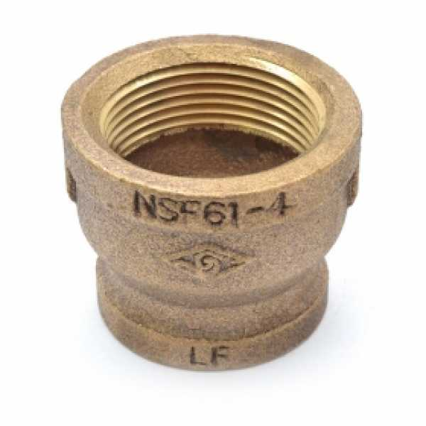 "1-1/4"" x 1"" FPT Brass Coupling, Lead-Free"