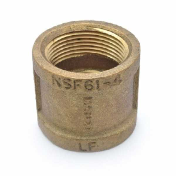 "1-1/4"" FPT Brass Coupling, Lead-Free"