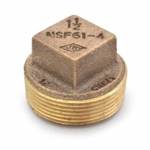 """1-1/2"""" MPT Square-Head Brass Plug, Lead-Free"""