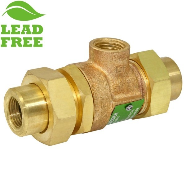 "1/2"" FNPT Union Dual Check Backflow Preventer Valve w/ Atmospheric Vent (Lead-Free)"