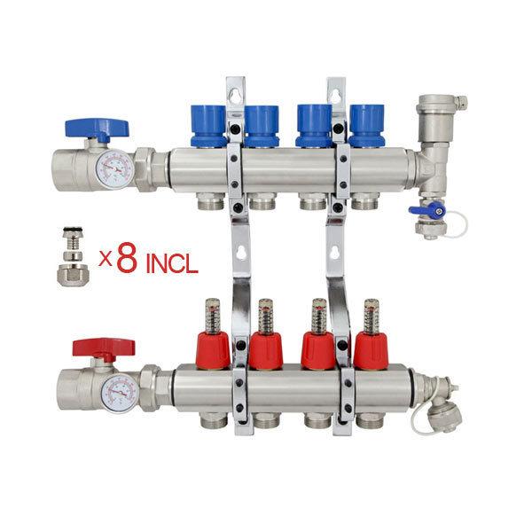 "Rifeng BSM004 4 Port Brass PEX Heating Manifold w/ 1/2"" PEX adapters"