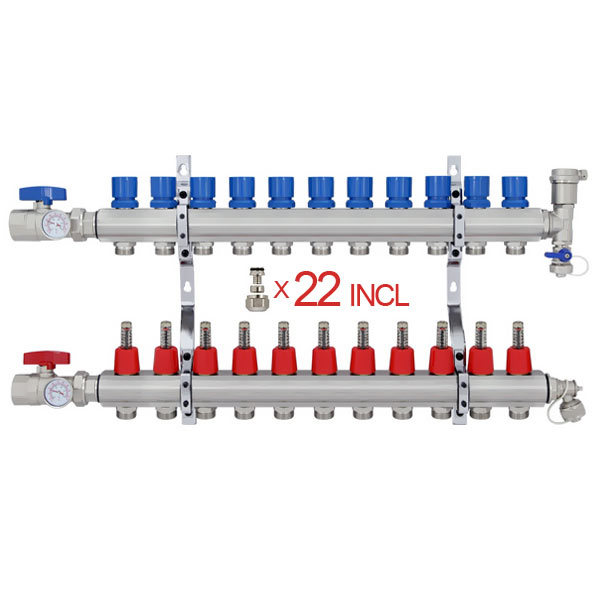 "12 Branch Stainless Steel PEX Heating Manifold w/1/2"" PEX adapters"