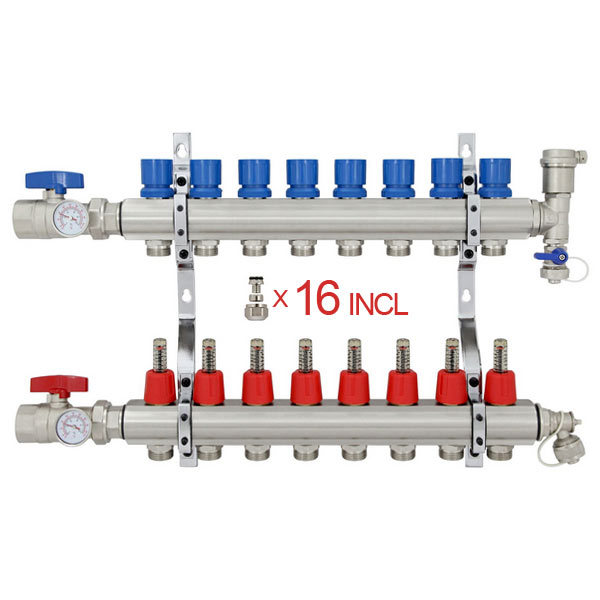 "8 Branch Stainless Steel PEX Heating Manifold w/ 1/2"" PEX adapters"